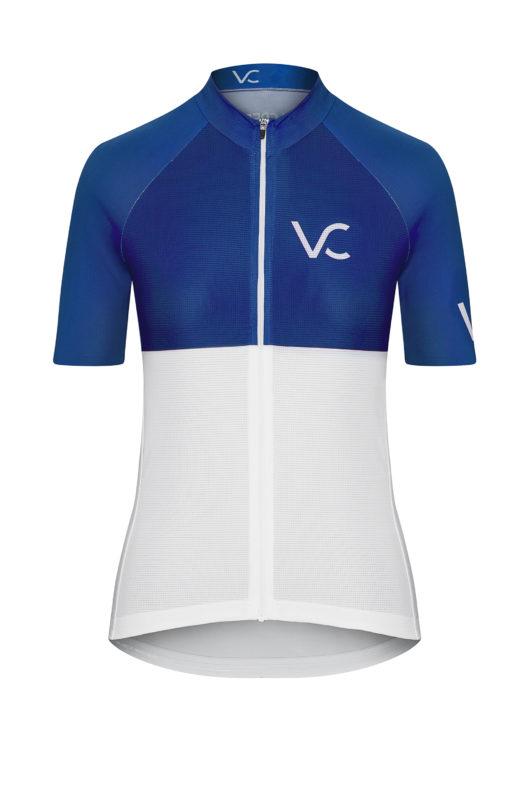 VELcredo 20180828 bialo niebieska damska fr 520x787 - Koszulka kolarska damska ULTRABLUE