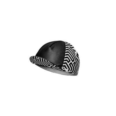 czapka kolarska z daszkiem czarna Velcredo