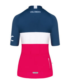koszulka kolarska damska Evolution Navy Ruby tył Velcredo