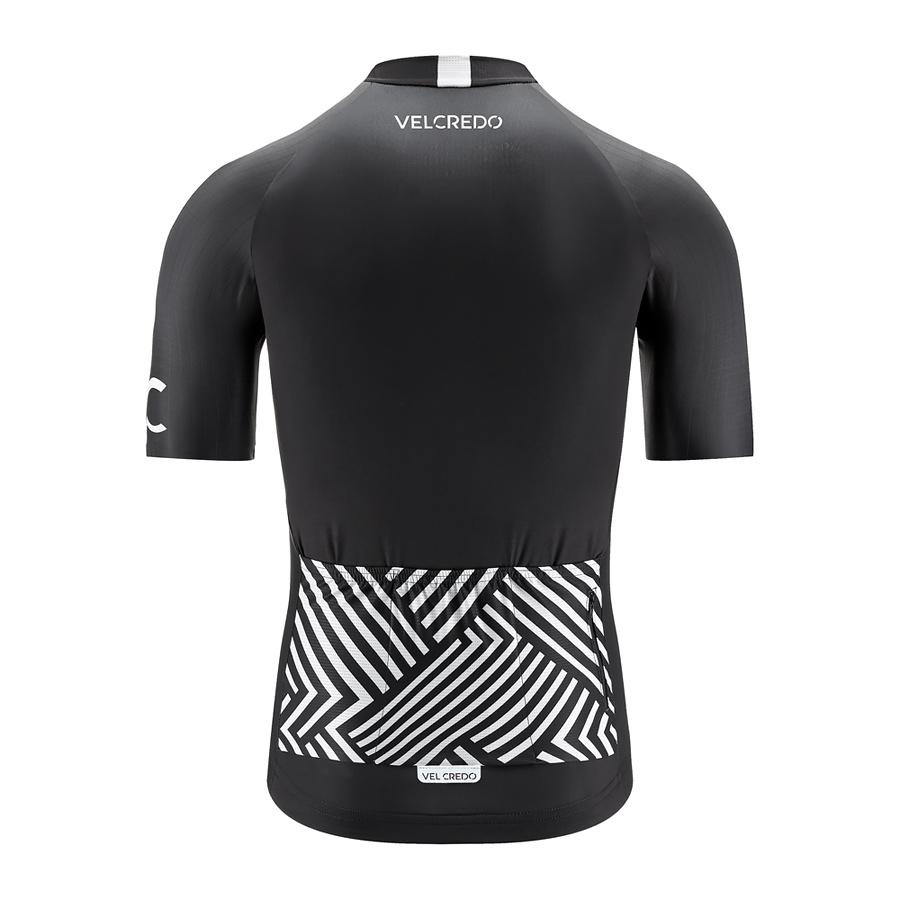 koszulka kolarska męska BLACK Velcredo tył - Koszulka Kolarska