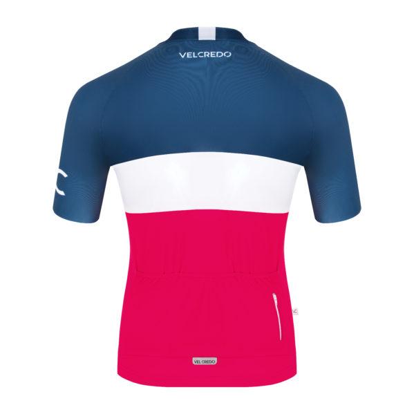 koszulka kolarska męska Evolution Navy Ruby tył Velcredo