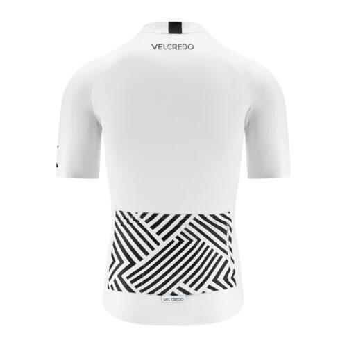 Koszulka kolarska męska biała WHITE z logo Velcredo
