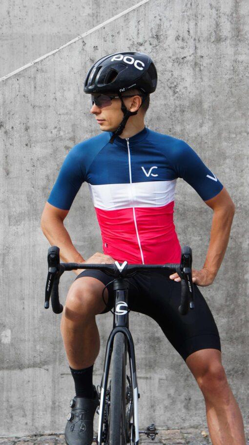 Koszulka kolarska męska Evolution NavyRuby Velcredo