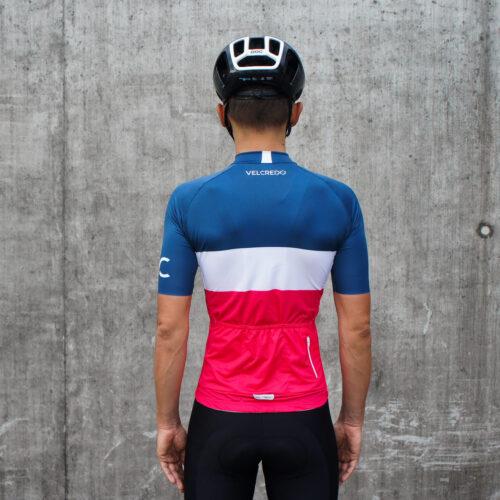 Koszulka kolarska męska Evolution NavyRuby Velcredo tył