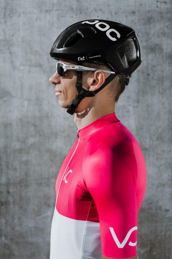 koszulka rowerowa biało-różowa Velcredo