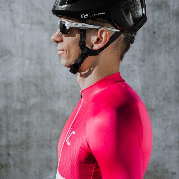 koszulka rowerowa męska biało-różowa Velcredo